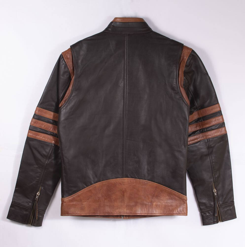 Back of Brown Two-Tone Cafe Racer Jacket With Applique Detail