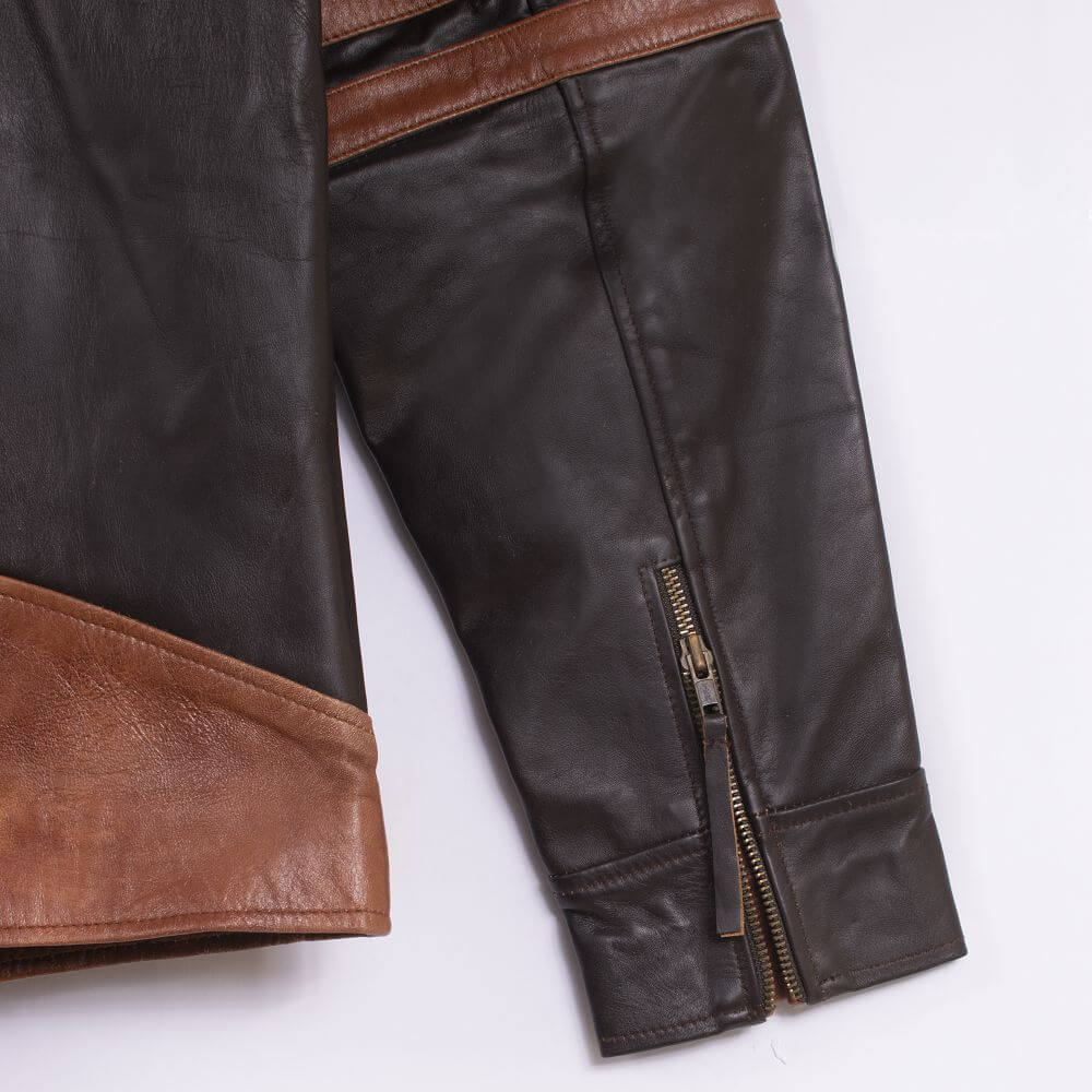 Cuff with Zipper Detail of Brown Two-Tone Cafe Racer Jacket With Applique Detail