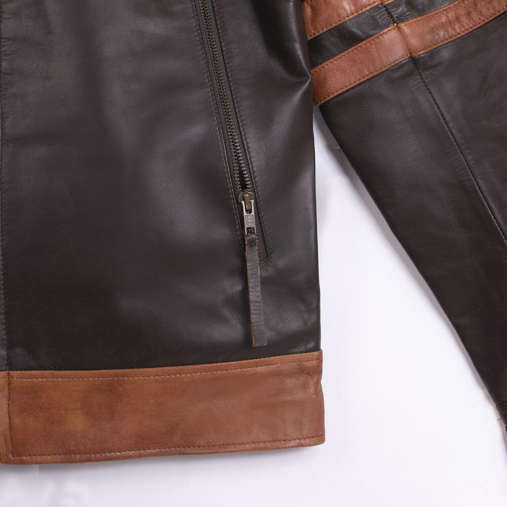 Pocket Zipper and Fabric Detail of Brown Two-Tone Cafe Racer Jacket With Applique Detail