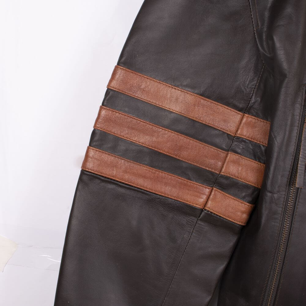 Three Stripe Light Brown Detail of Two-Tone Cafe Racer Jacket With Applique Detail