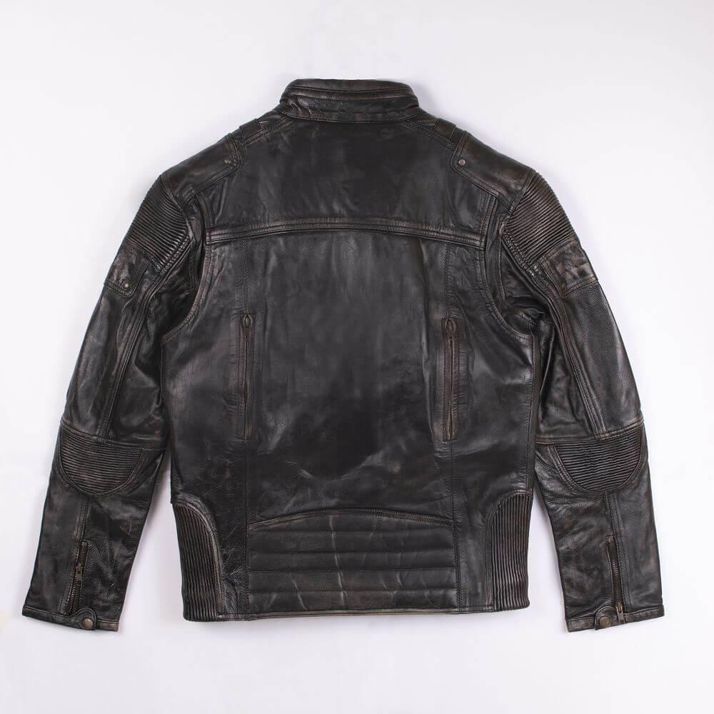Back of Black Distressed Leather Racer Jacket