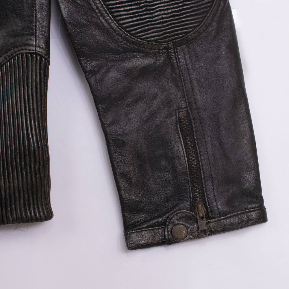 Cuff Detail of Black Distressed Leather Racer Jacket