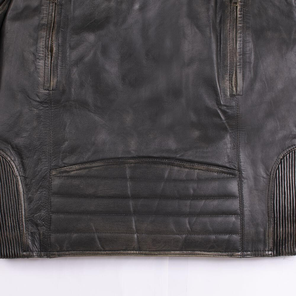 Texture Detail of Black Distressed Leather Racer Jacket