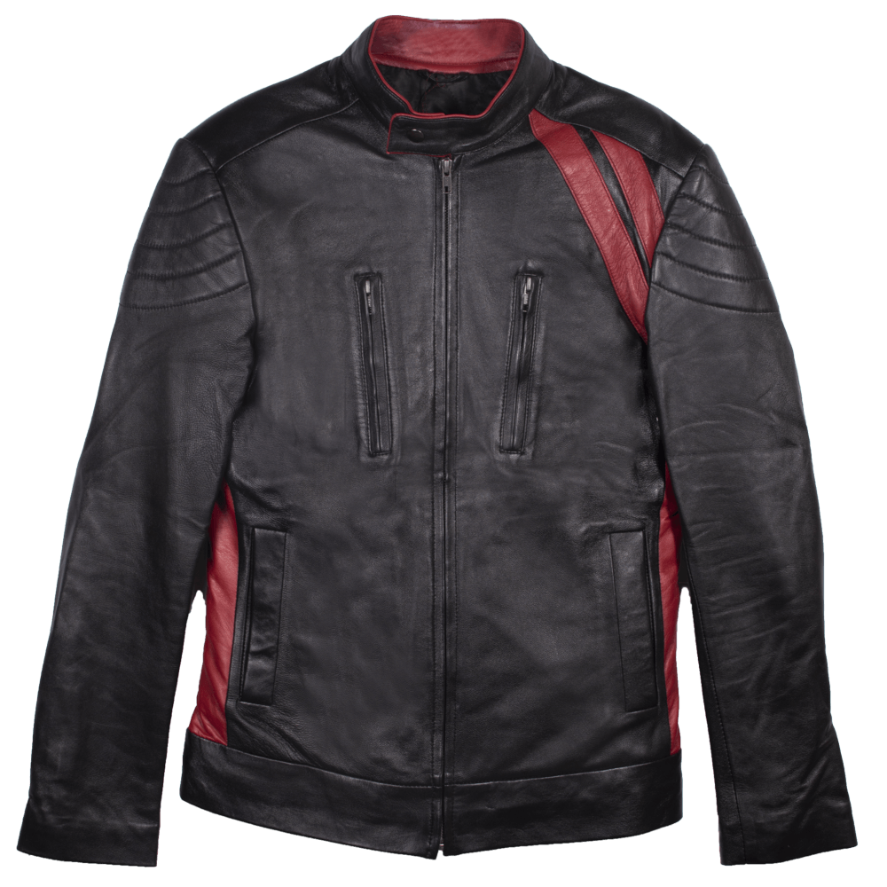 Leather Cafe Racer Jacket with Contrast Detail
