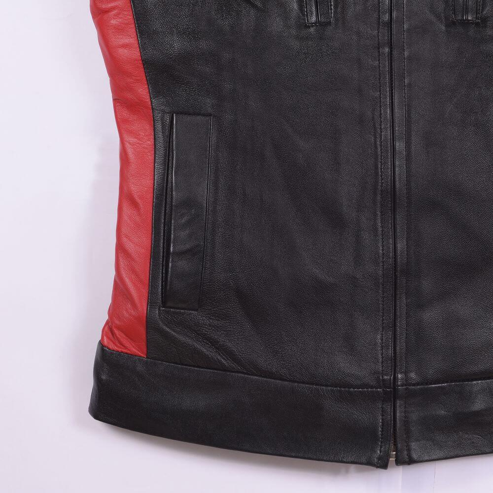 Side Pocket Detail of Black Leather Café Racer Jacket with Contrast Detail