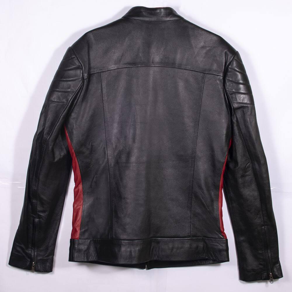 Back of Black Leather Café Racer Jacket with Contrast Detail