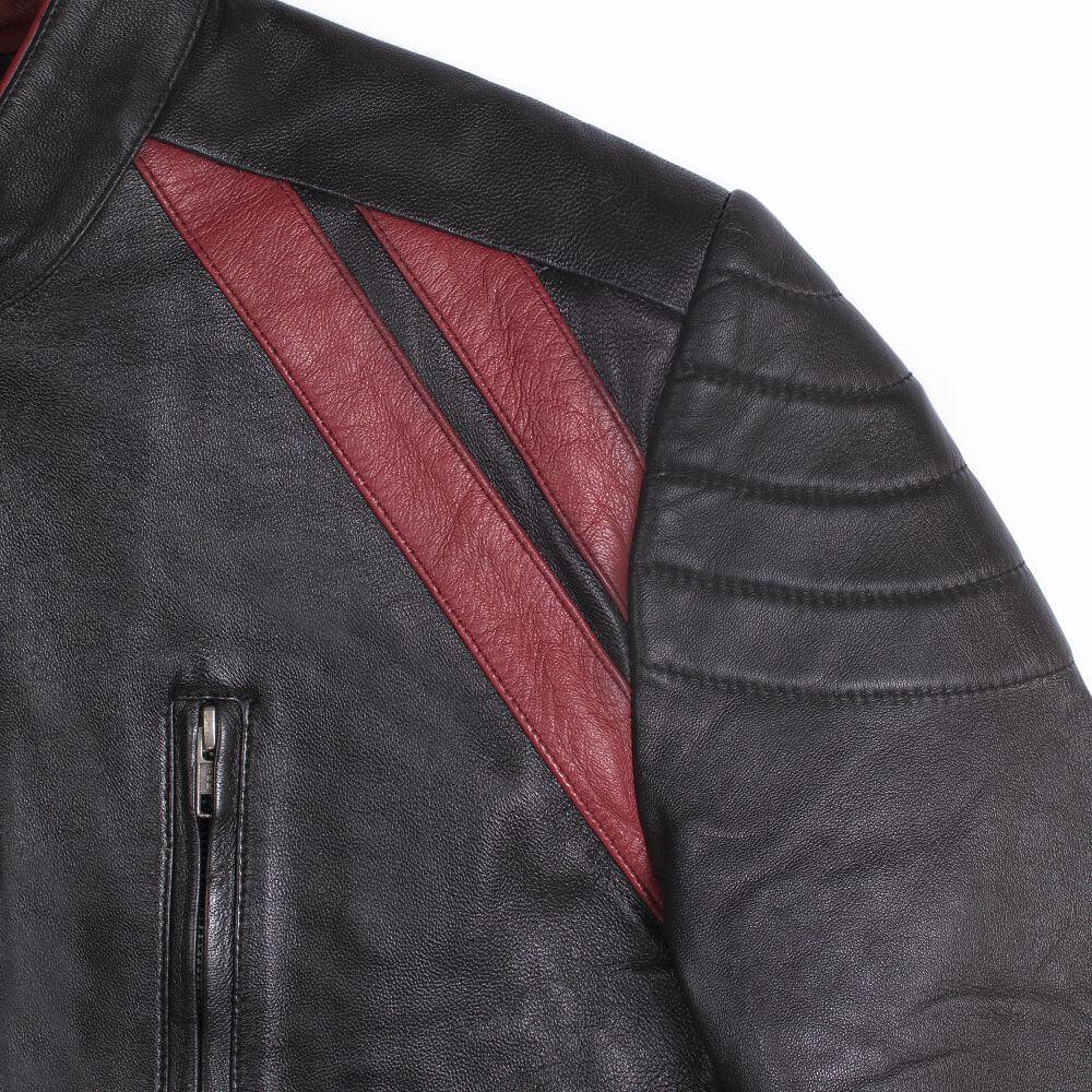 Shoulder Double Red Stripe Detail of Black Leather Café Racer Jacket with Contrast Detail