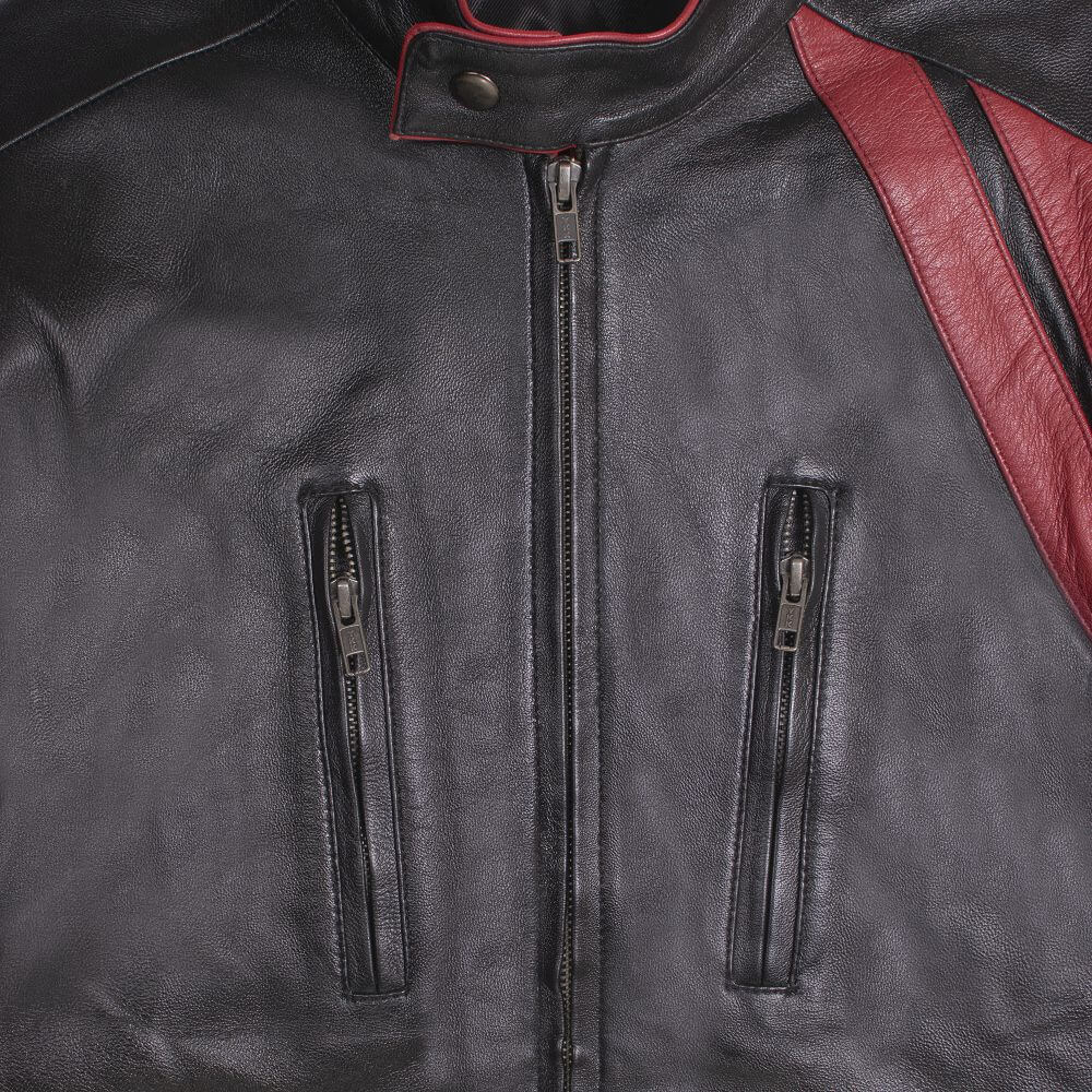 Front Pocket and Zipper Detail of Black Leather Café Racer Jacket with Contrast Detail