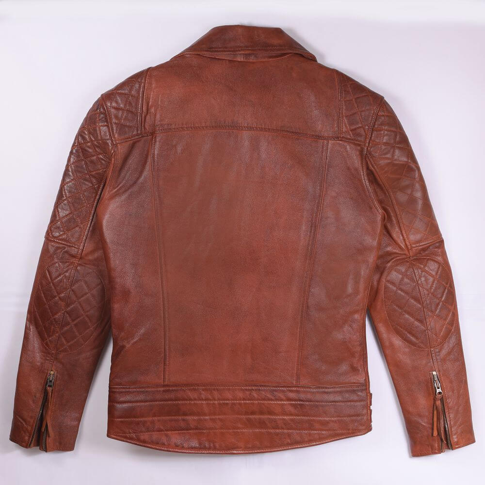 Back of Brown Quilted Leather Biker Jacket