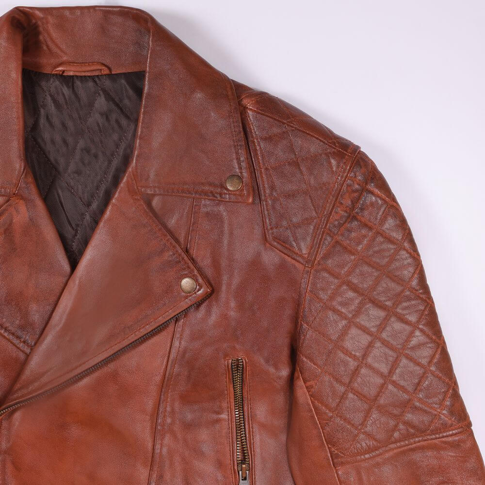 Collar and Shoulder Detail of Brown Quilted Leather Biker Jacket