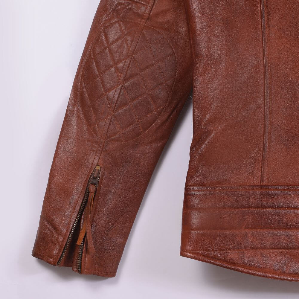 Cuff with Zipper Detail of Brown Quilted Leather Biker Jacket