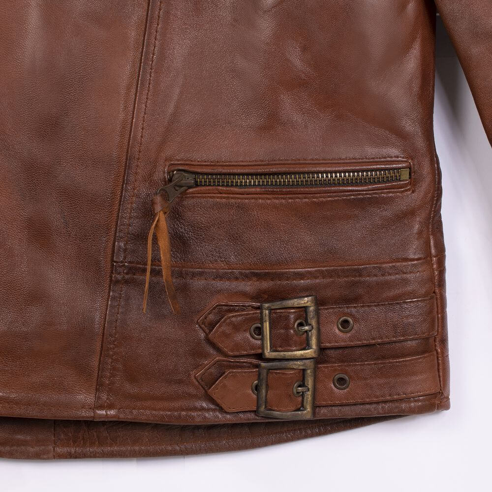 Hem with Double Buckle Detail of Brown Quilted Leather Biker Jacket