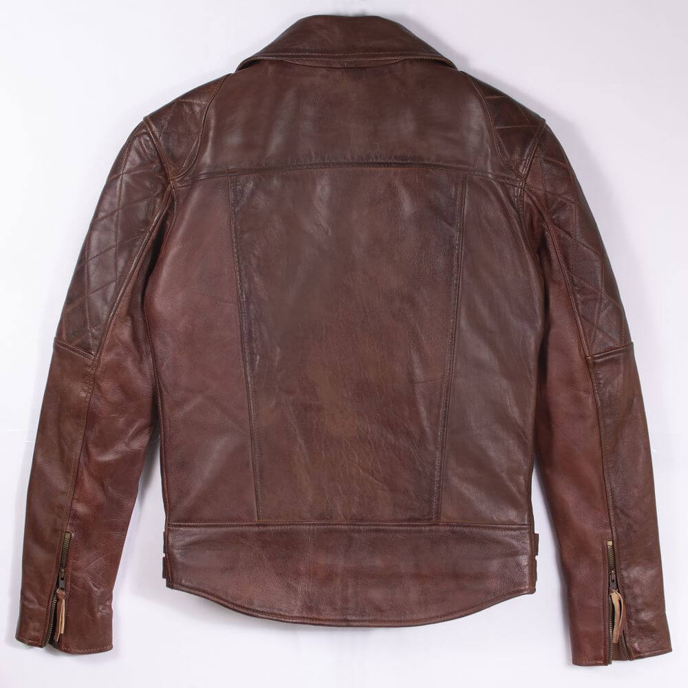 Back of Brown Sheepskin Leather Biker Jacket