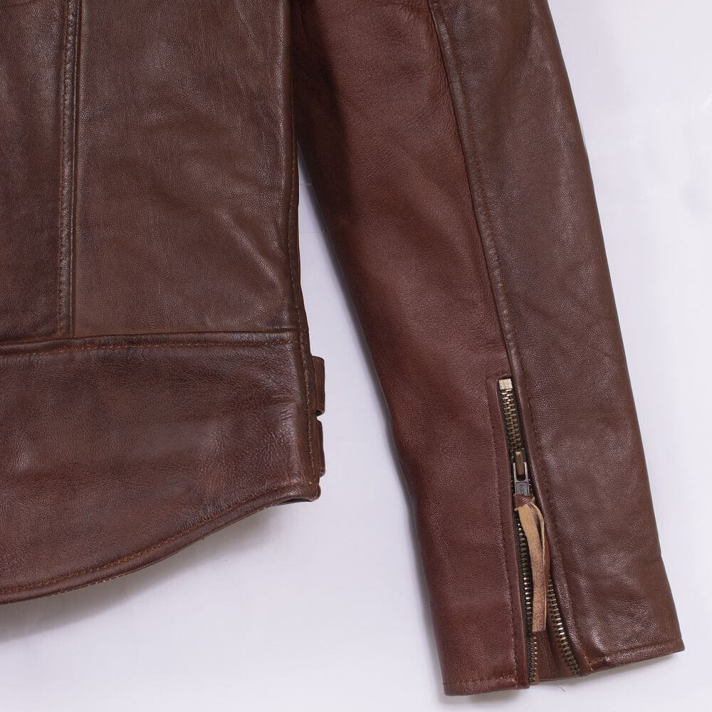 Cuff with Zipper Detail of Brown Sheepskin Leather Biker Jacket