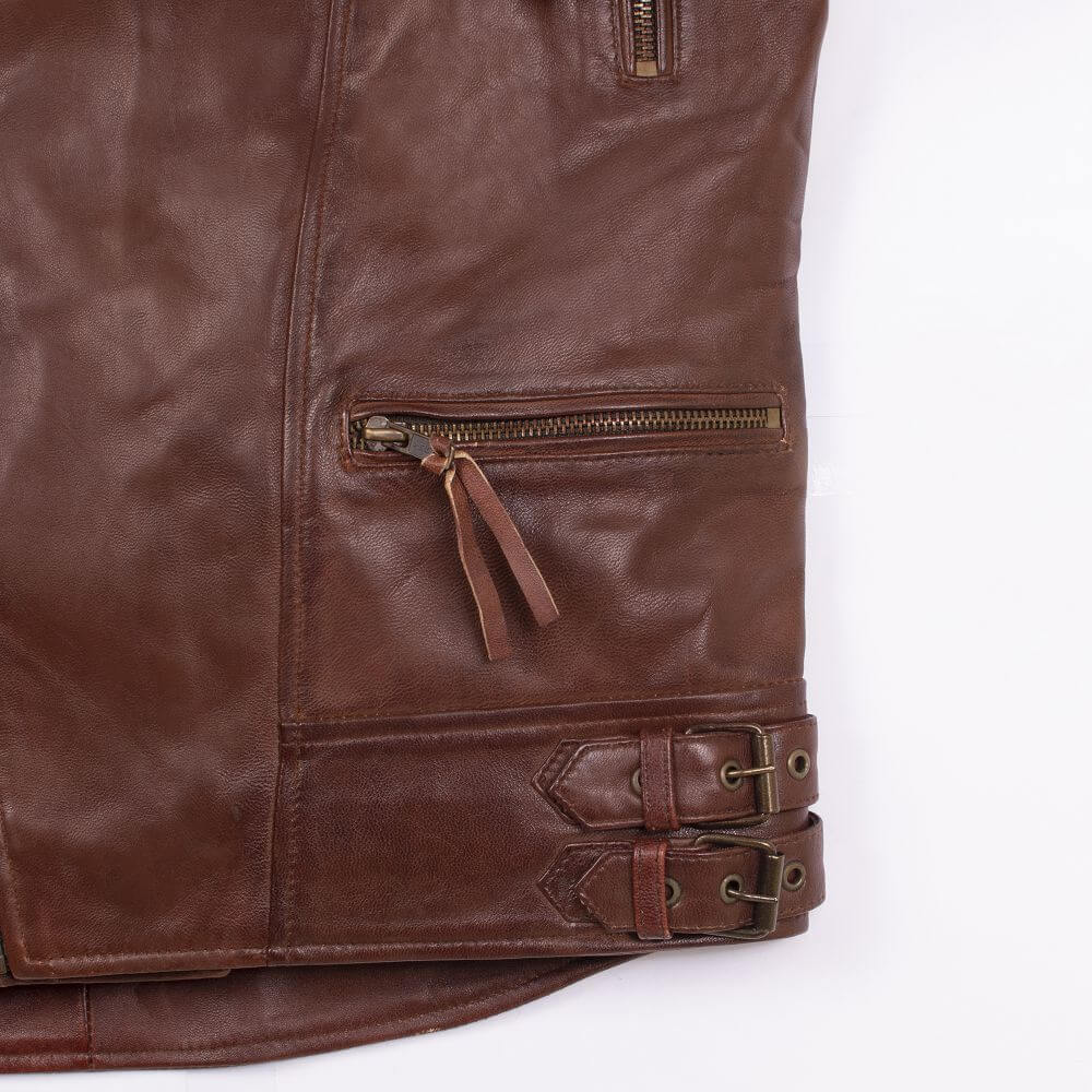 Side Pocket with Zipper Detail of Brown Sheepskin Leather Biker Jacket