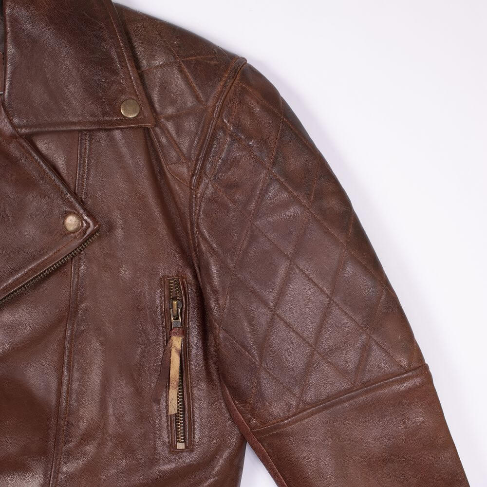 Shoulder and Collar Detail of Brown Sheepskin Leather Biker Jacket
