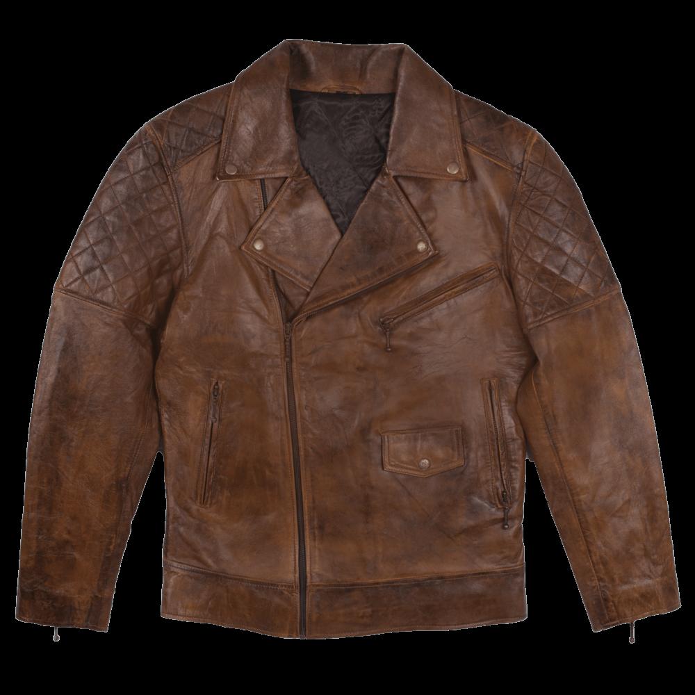 Vintage Quilted Leather Biker Jacket