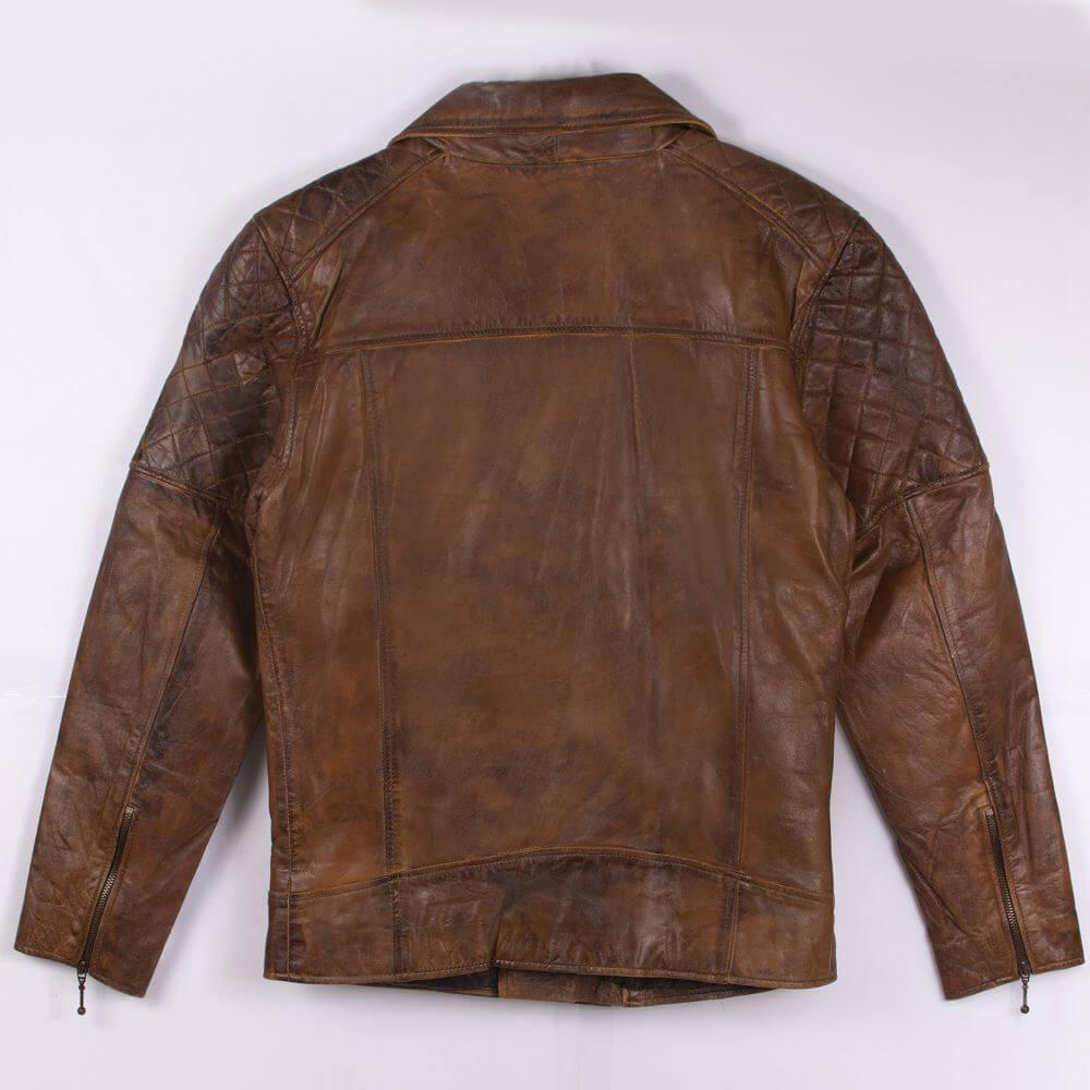 Back of Brown Vintage Quilted Leather Biker Jacket