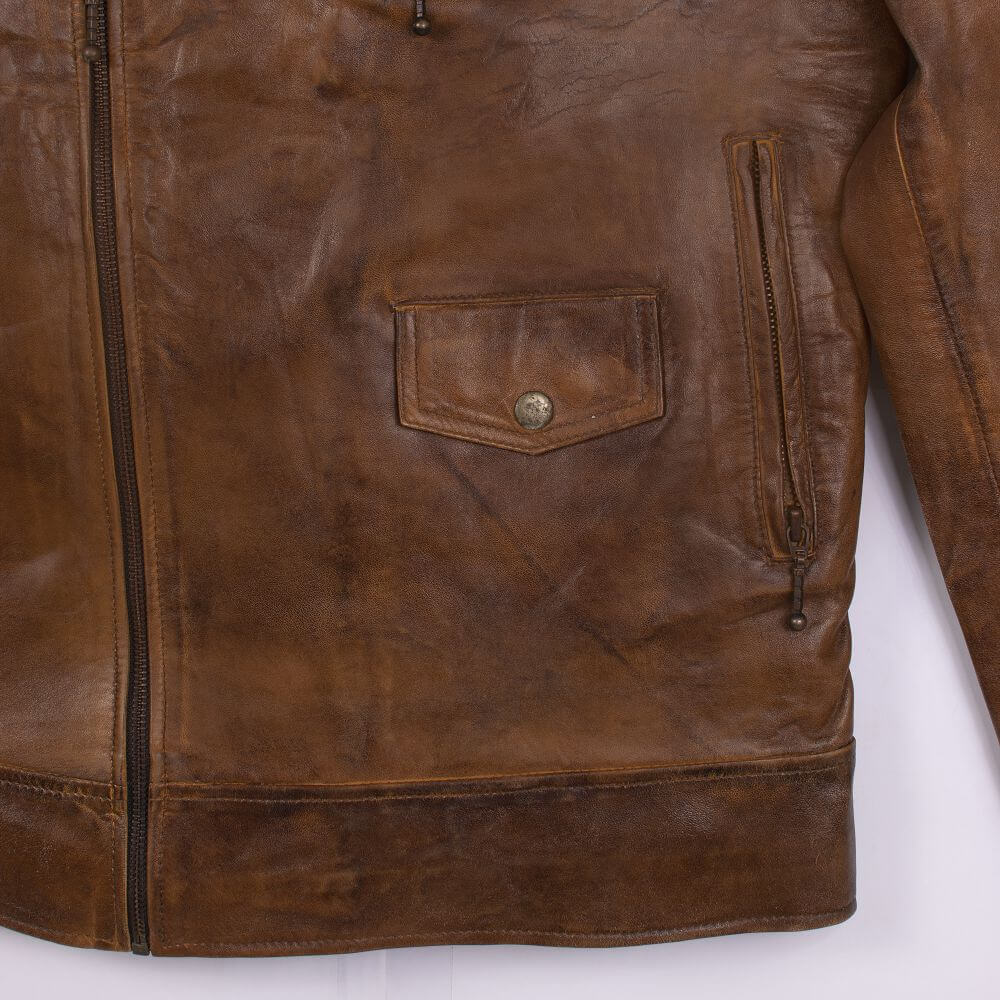 Side Pocket with Button and Zipper Detail of Brown Vintage Quilted Leather Biker Jacket