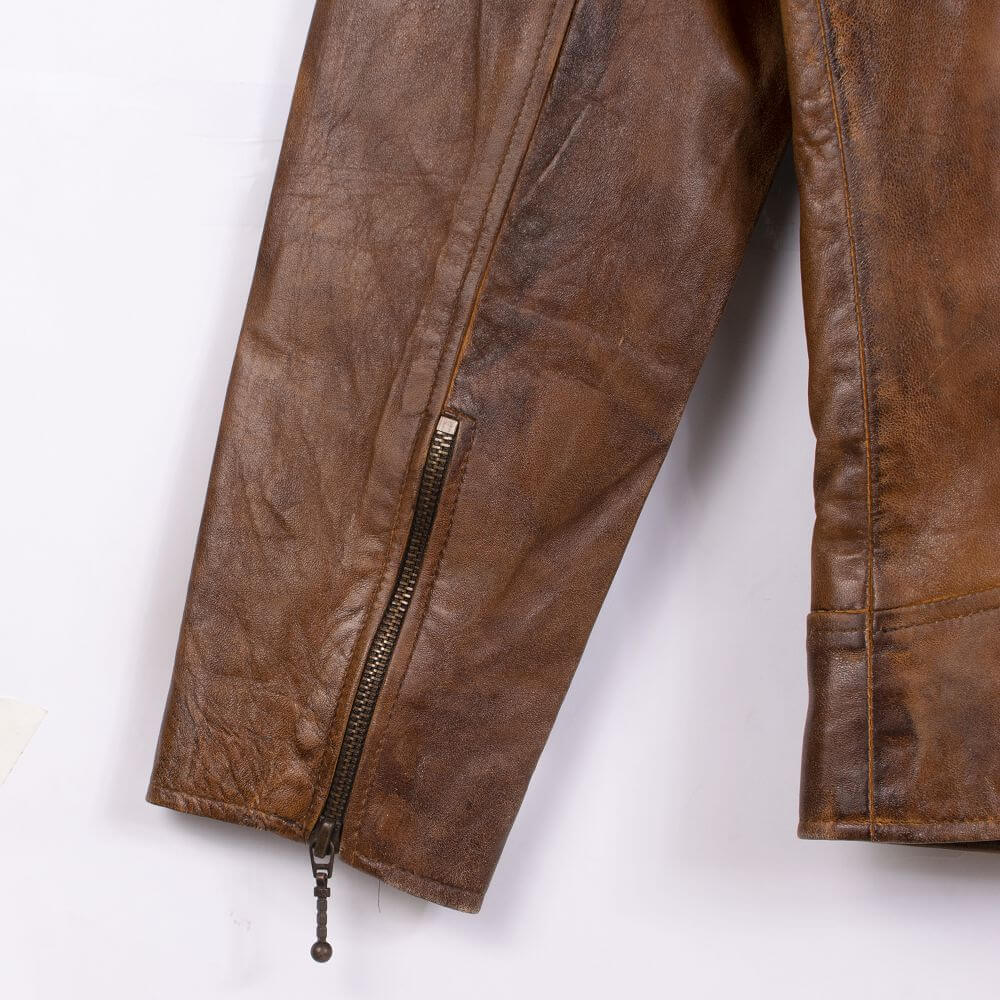 Cuff with Zipper Detail of Brown Vintage Quilted Leather Biker Jacket