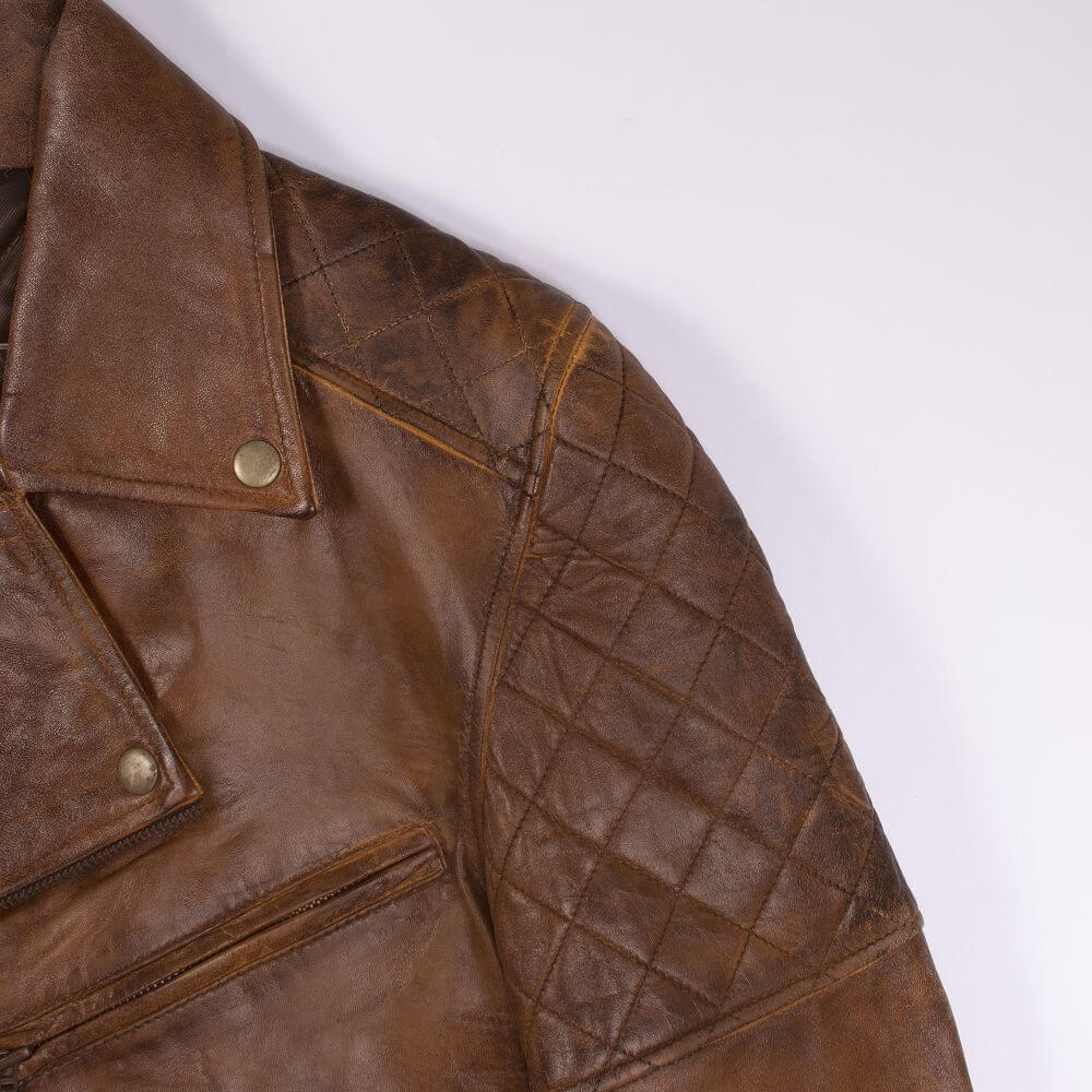 Shoulder and Collar Detail of Brown Vintage Quilted Leather Biker Jacket
