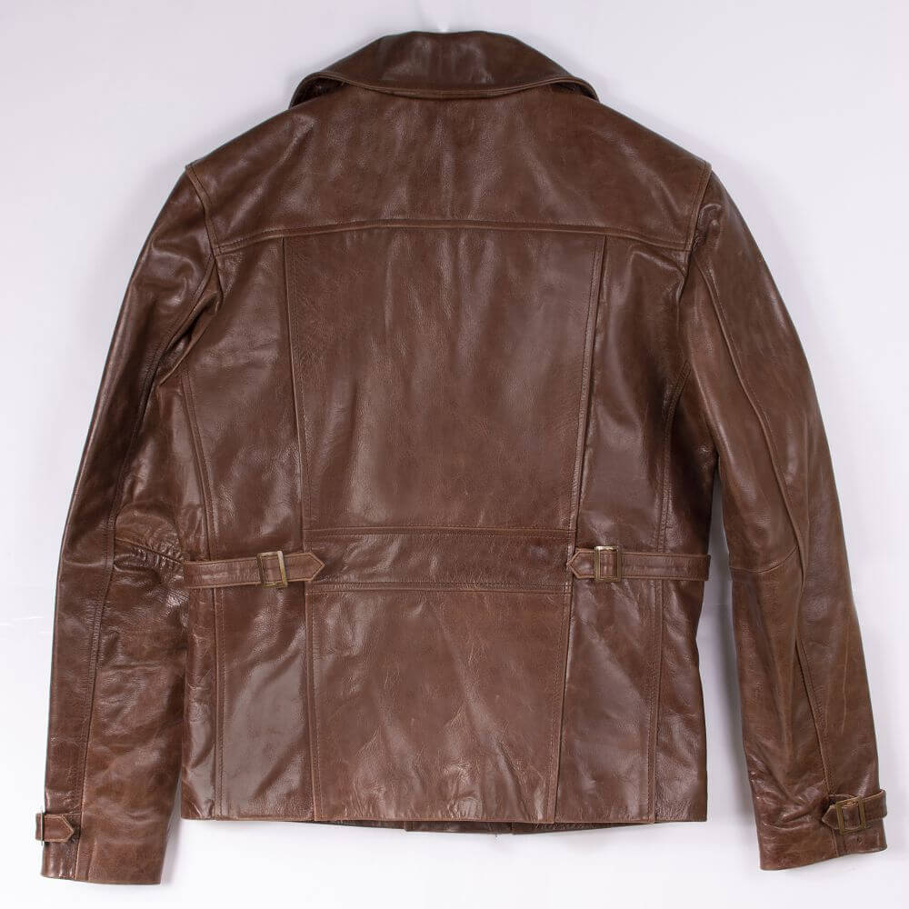 Back of Brown Sheepskin Biker Jacket