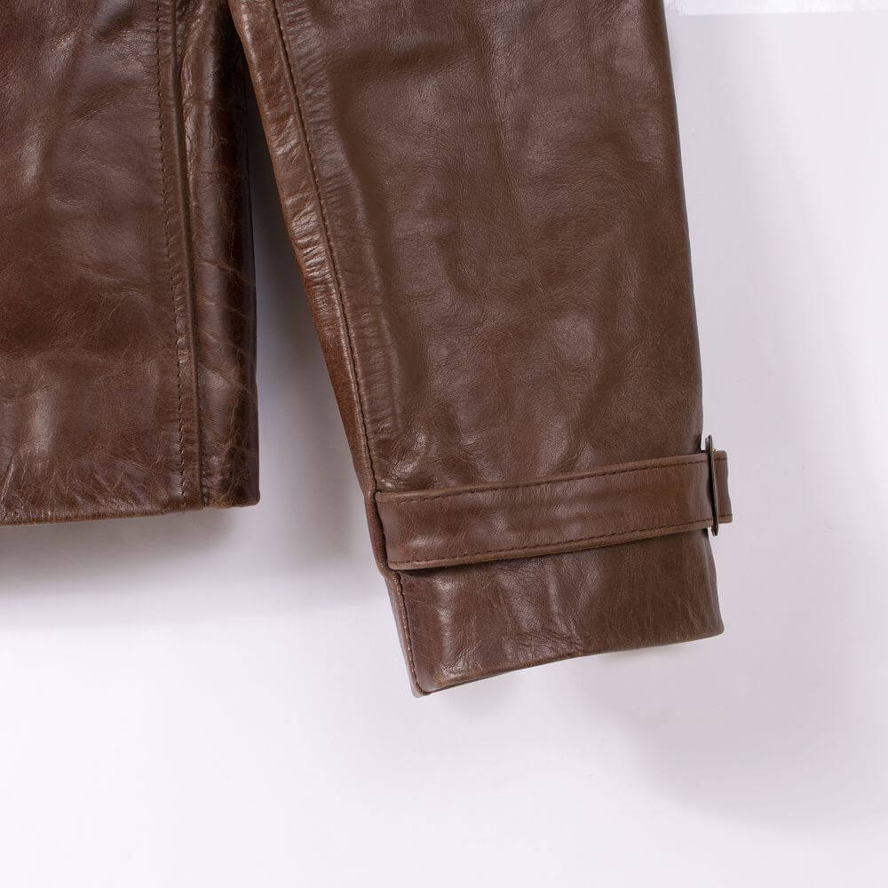 Front Cuff Detail of Brown Sheepskin Biker Jacket