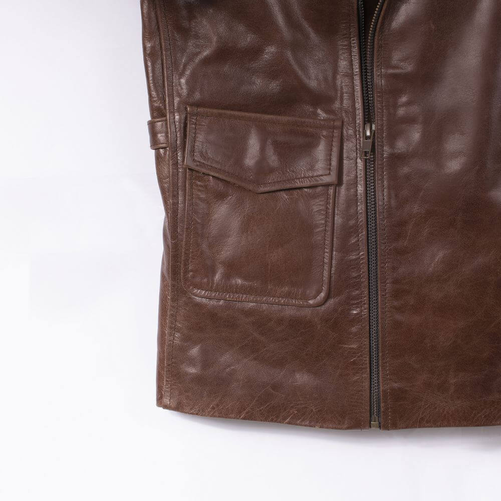 Side Pocket with Button Detail of Brown Sheepskin Biker Jacket
