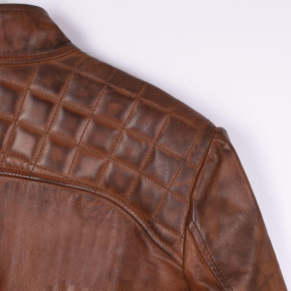 Back Shoulder Fabric Detail of Brown Quilted Leather Racer Jacket