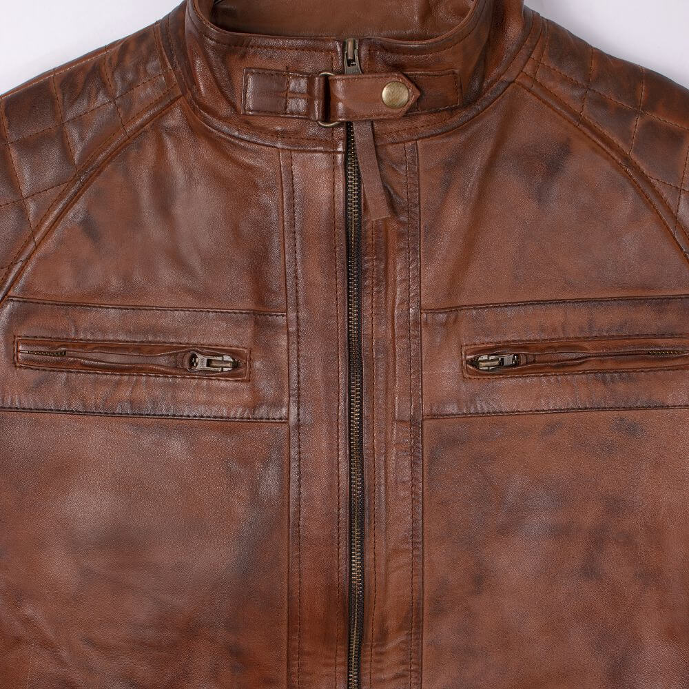 Collar and Front Zip Detail of Brown Quilted Leather Racer Jacket