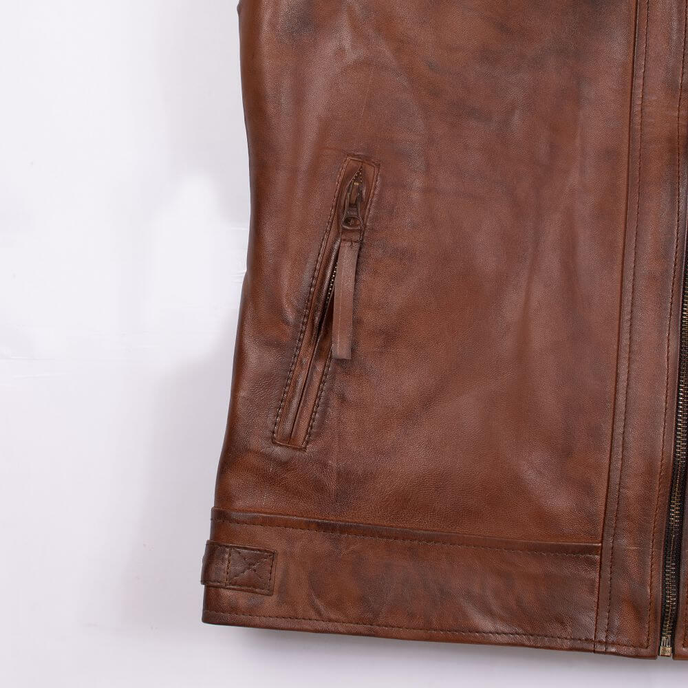 Side Pocket Zipper Detail of Brown Quilted Leather Racer Jacket
