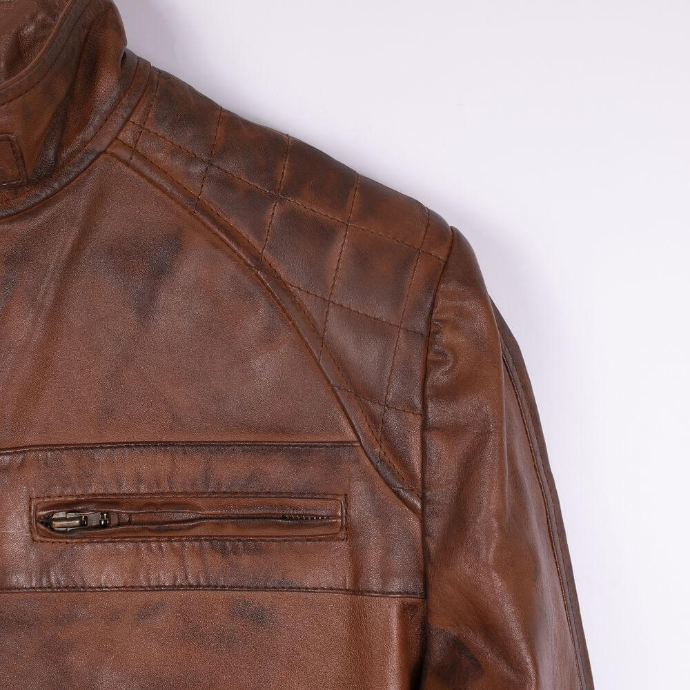 Front Shoulder Fabric Detail of Brown Quilted Leather Racer Jacket