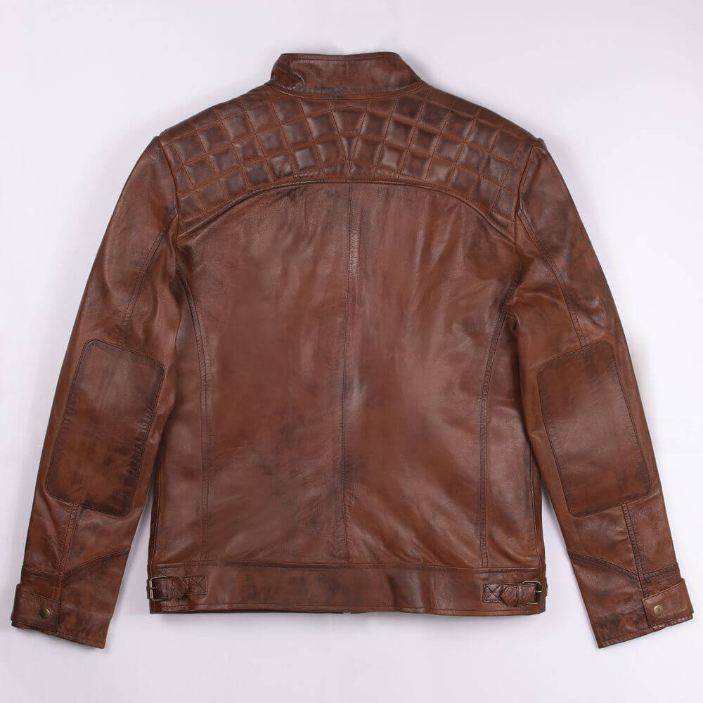 Back of Brown Quilted Leather Racer Jacket
