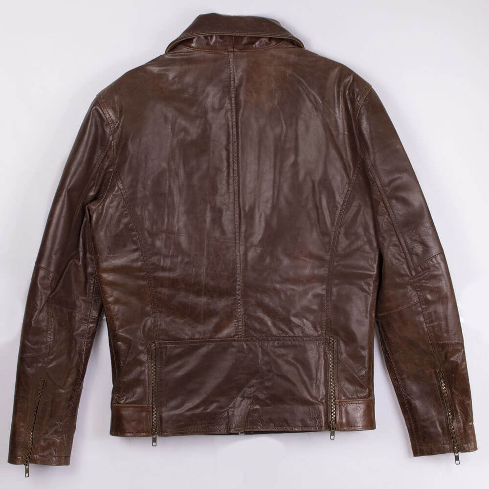 Back of Brown Sheepskin Leather Jacket