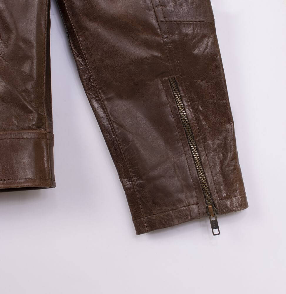 Cuff with Zipper Detail of Brown Sheepskin Leather Jacket