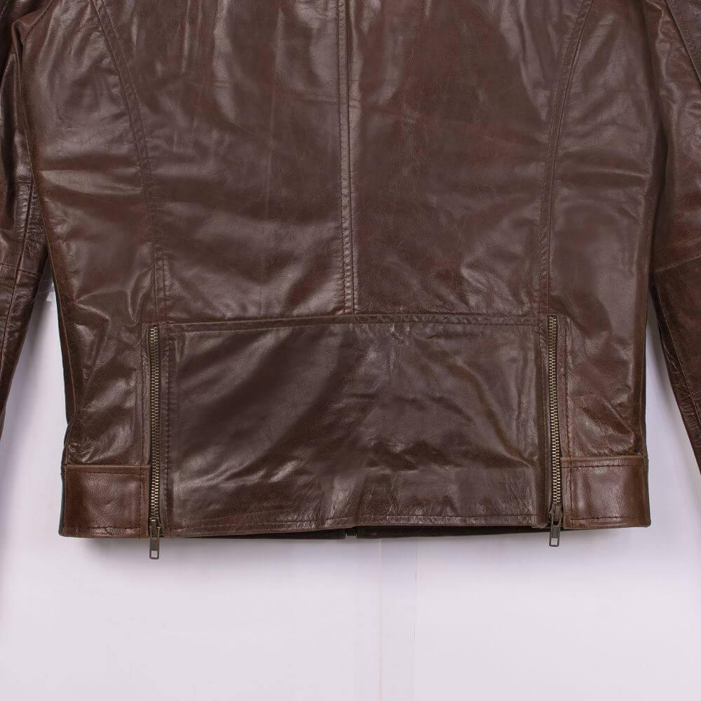 Back Hem Detail of Brown Sheepskin Leather Jacket