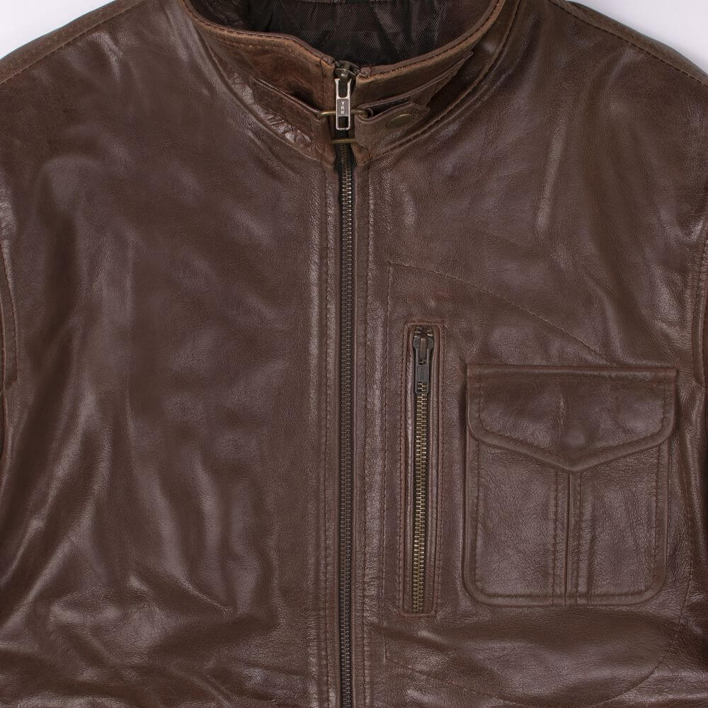 Collar and Front Zipper Detail of Brown Sheepskin Leather Jacket