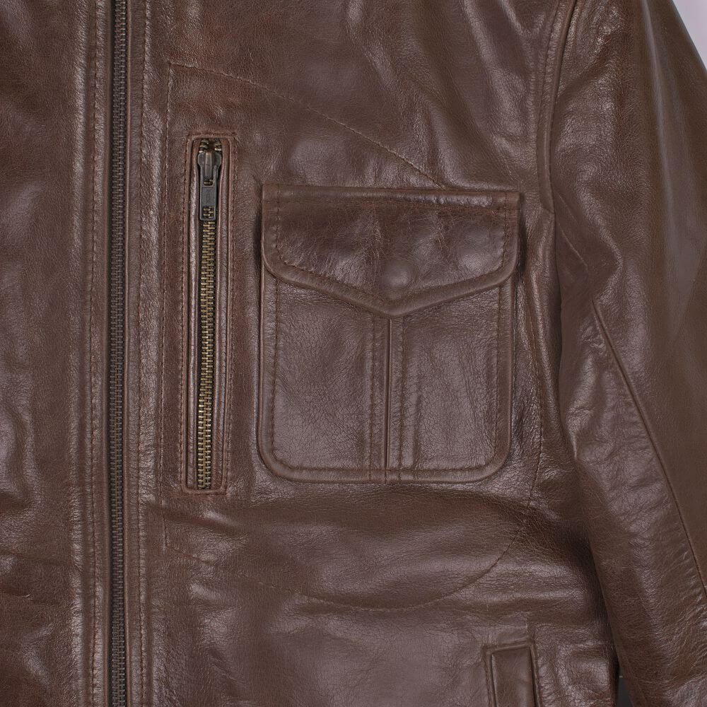 Chest Pocket and Zipper Detail of Brown Sheepskin Leather Jacket