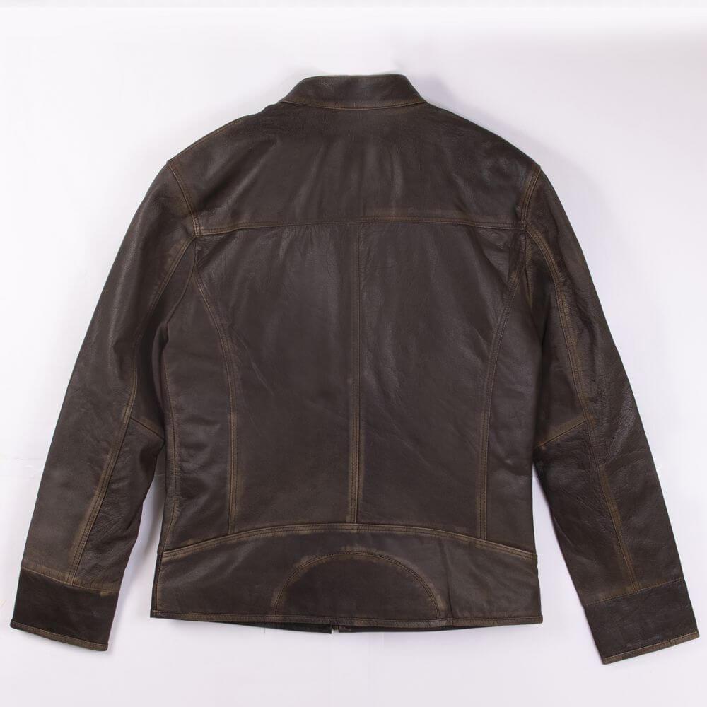 Back of Brown Lightweight Sheepskin Racer Jacket