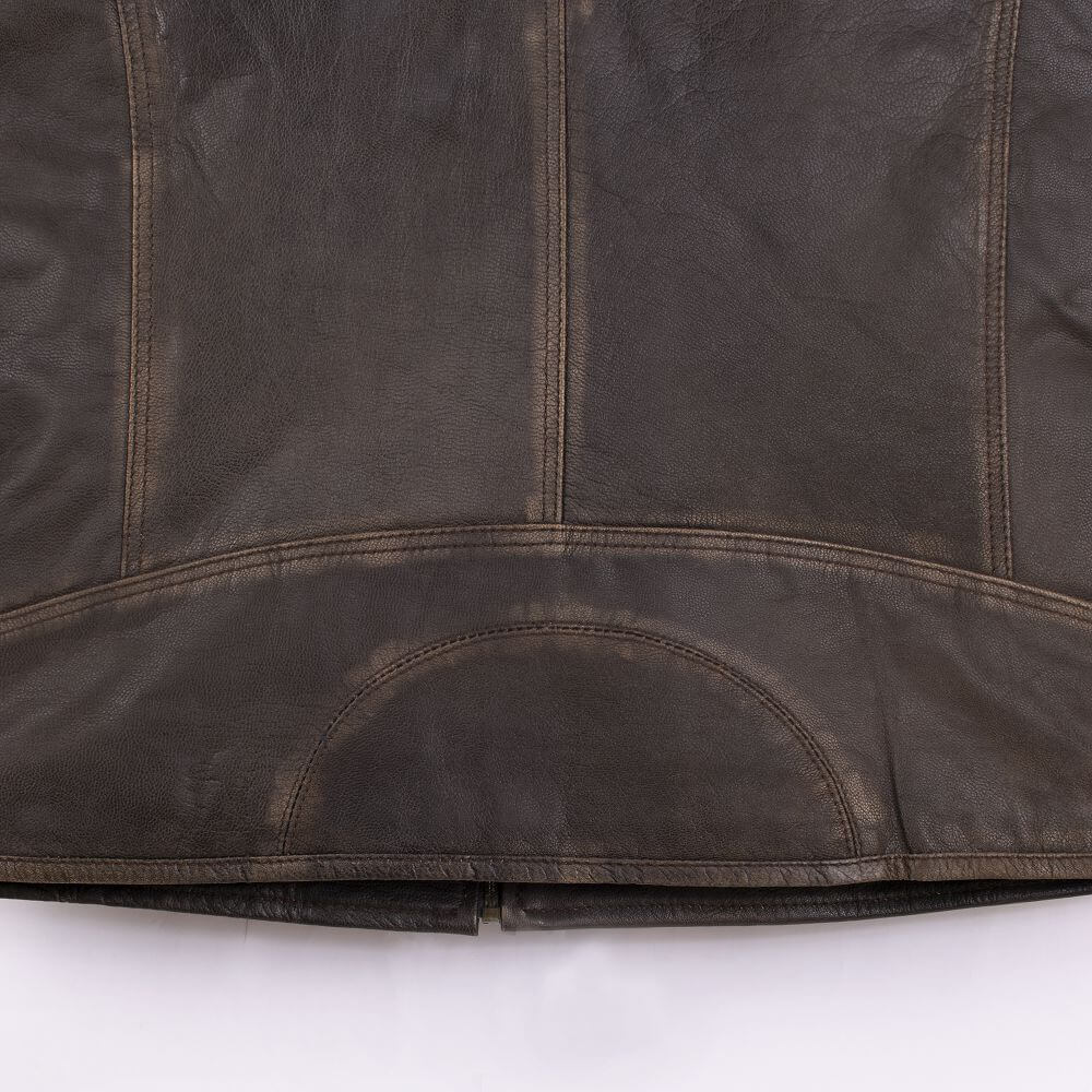 Back Hem and Fabric Detail of Brown Lightweight Sheepskin Racer Jacket