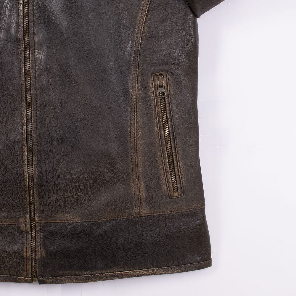 Side Pocket Zipper Detail of Brown Lightweight Sheepskin Racer Jacket