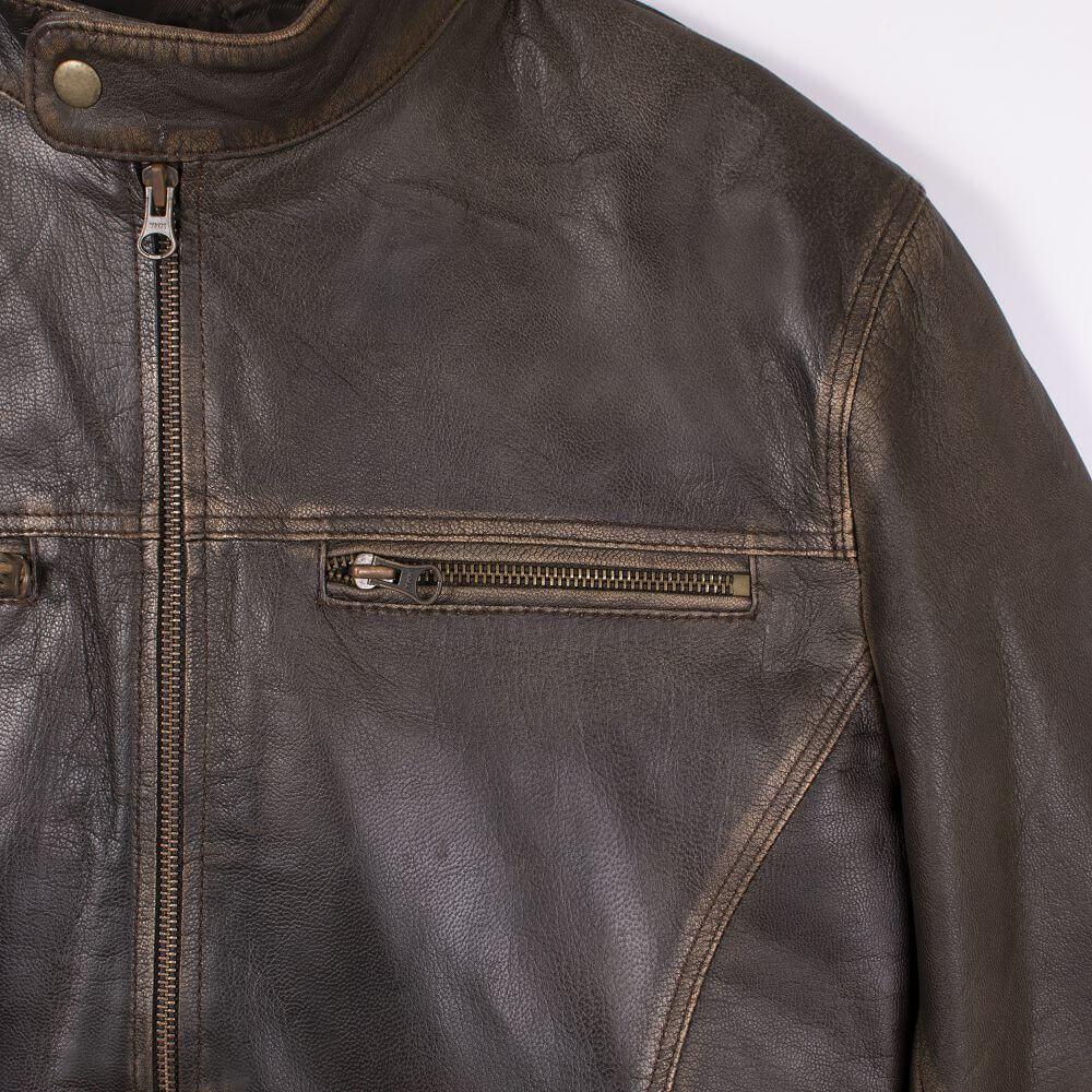 Chest Zip and Shoulder Detail of Brown Lightweight Sheepskin Racer Jacket
