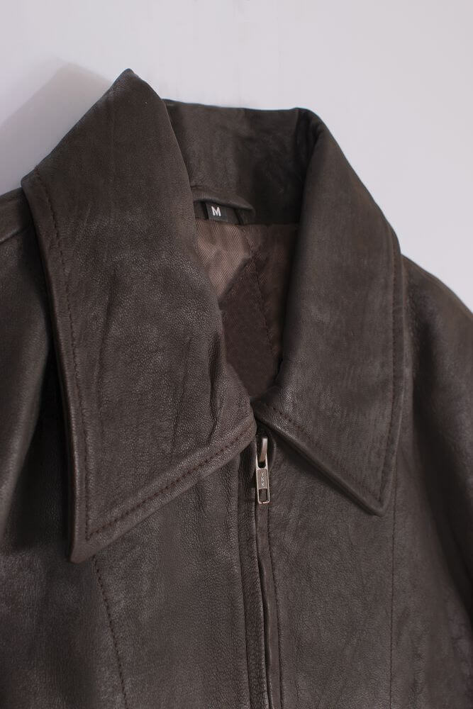 Collar Detail of Brown Lightweight Leather Jacket with Shirt Collar
