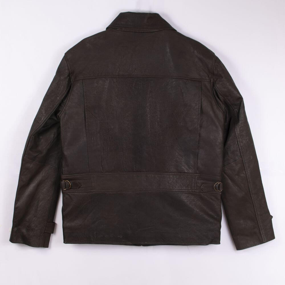 Back of Brown Lightweight Leather Jacket with Shirt Collar