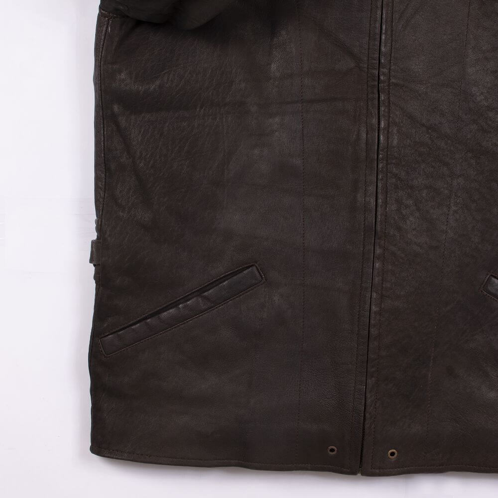 Front Hem Detail of Brown Lightweight Leather Jacket with Shirt Collar