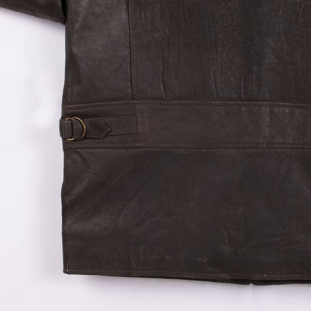Back Hem Detail of Brown Lightweight Leather Jacket with Shirt Collar