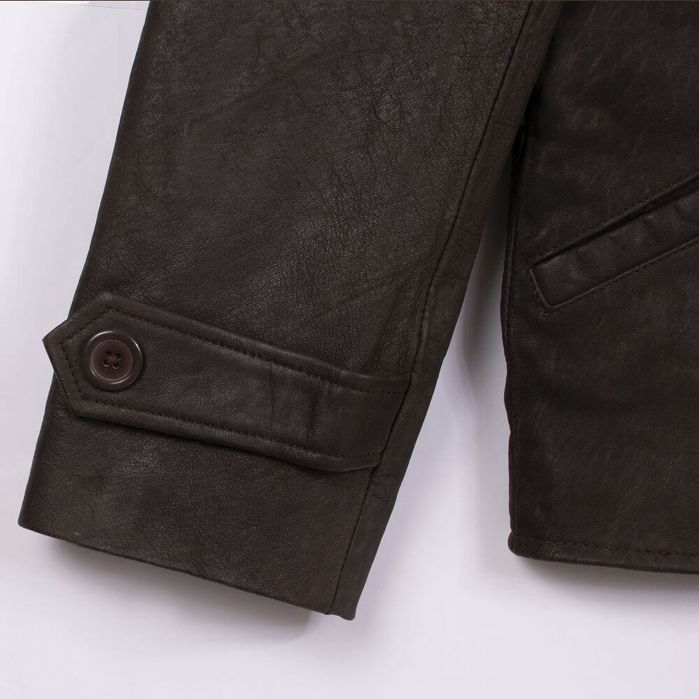 Cuff with Button Detail of Brown Lightweight Leather Jacket with Shirt Collar
