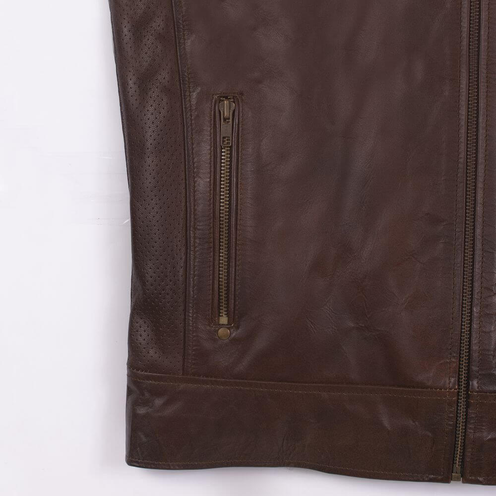 Side Pocket with Zip Detail of Brown Sheepskin Leather Racer Jacket