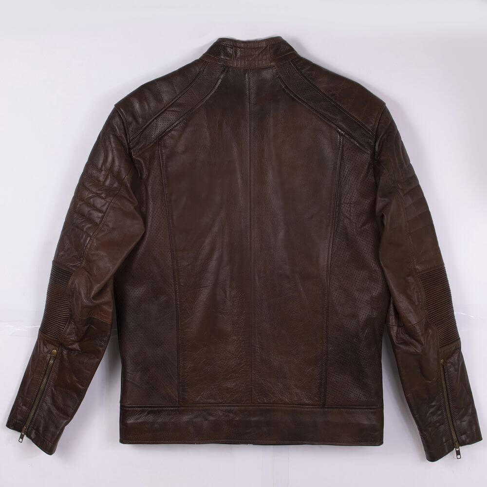 Back of Brown Sheepskin Leather Racer Jacket