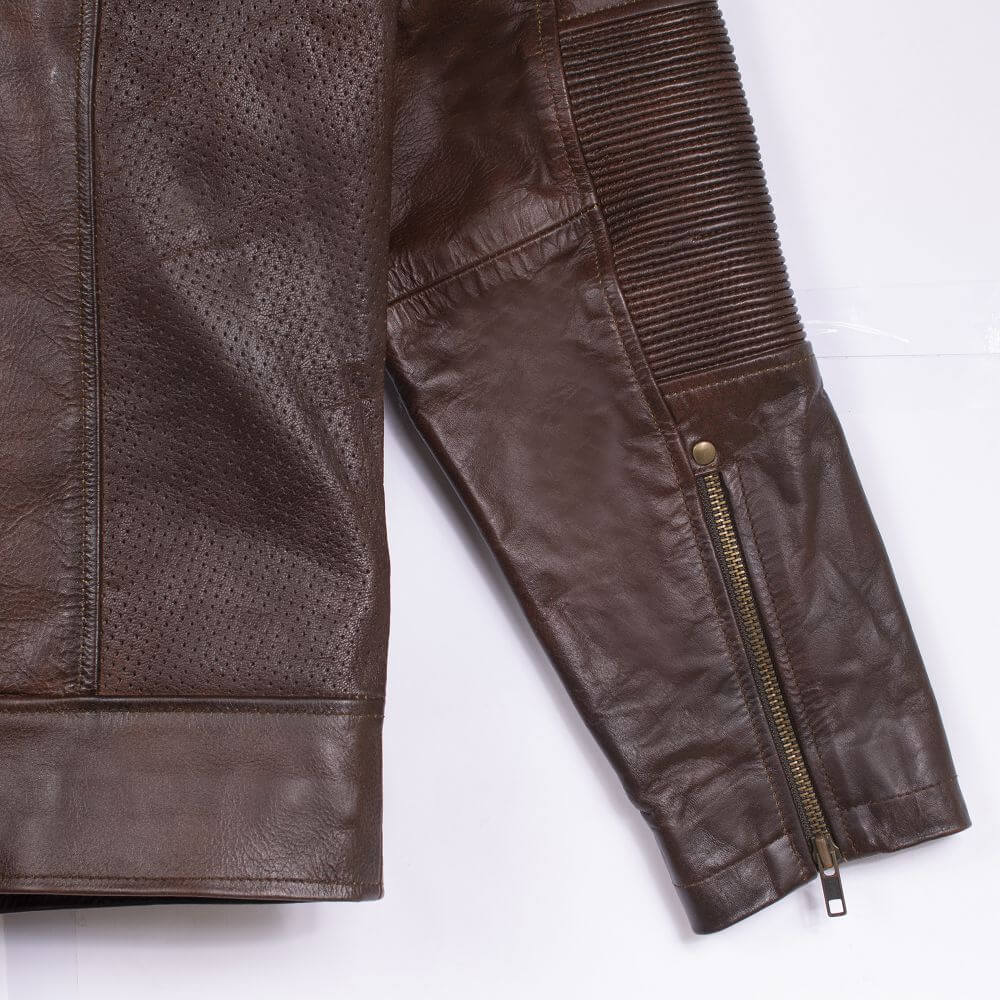 Cuff with Zipper Detail of Brown Sheepskin Leather Racer Jacket